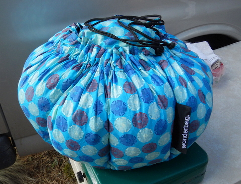 This is my Wonderbag all sealed up tight to keep nearly all it's heat in. It's just as good an insulator as hay, and much smaller and neater!