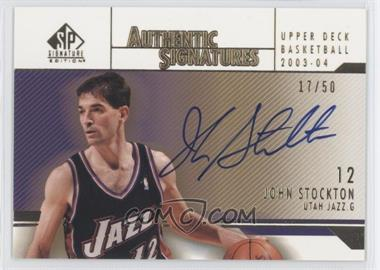2003-04 SP Signature Edition Signatures Gold #ST - John Stockton/50 - Courtesy of CheckOutMyCards.com