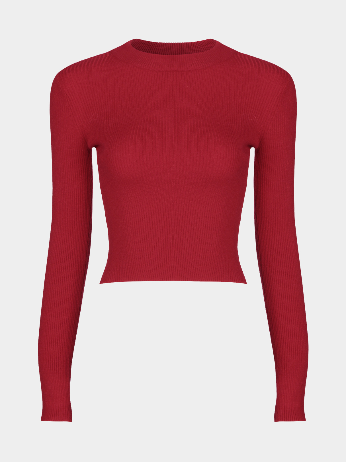 Red High Neck Short Length Long Sleeves Jumper