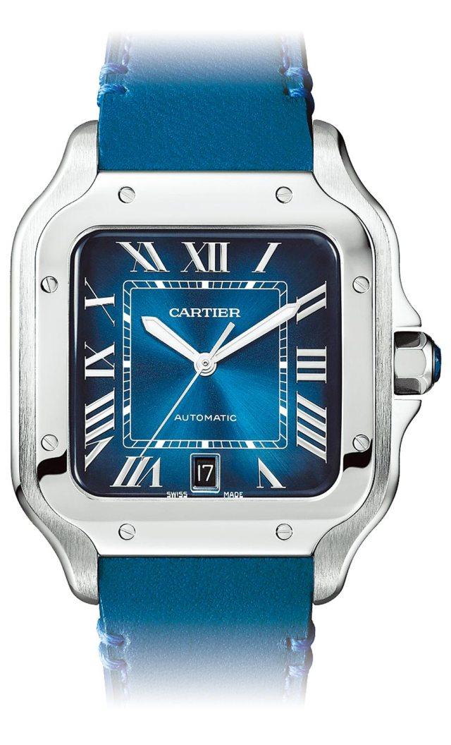 卡地亞Santos de Cartier藍面精鋼腕表可更換金屬或皮革表帶,約21萬1000元。(Cartier提供)