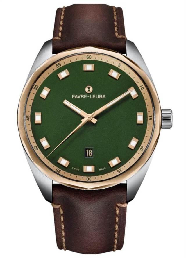 域峰表Sky Chief Date綠色表盤玫瑰金奢華款腕表,11萬6000元。(Favre-Leuba提供)