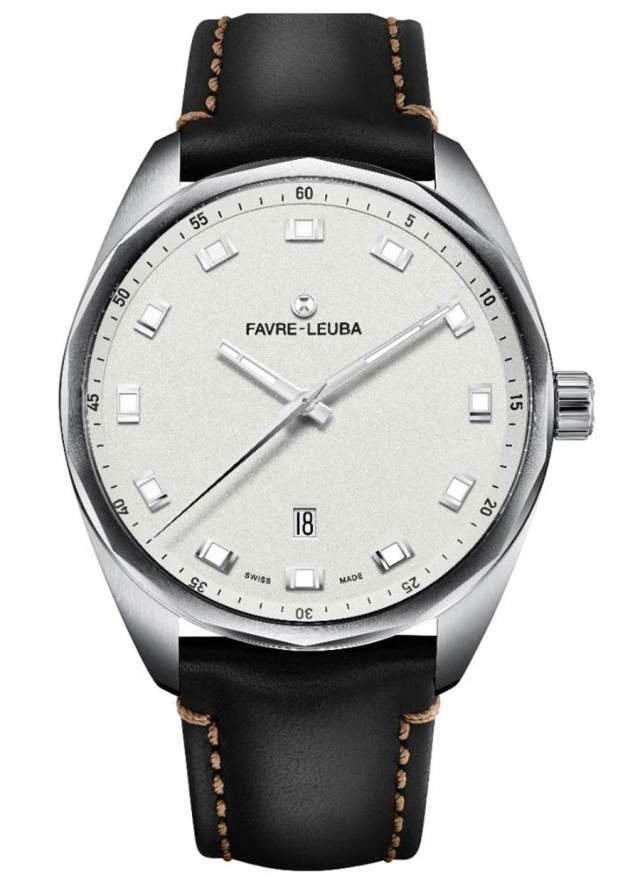 域峰表Sky Chief Date白色表盤腕表,43mm大表徑更加時尚,添牛皮表帶款5萬8000元。(Favre-Leuba提供)