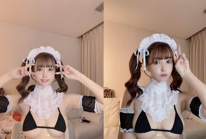 三上悠亞cosplay女僕,性感裝扮大秀傲人上圍。(圖/ 摘自三上悠亞IG)