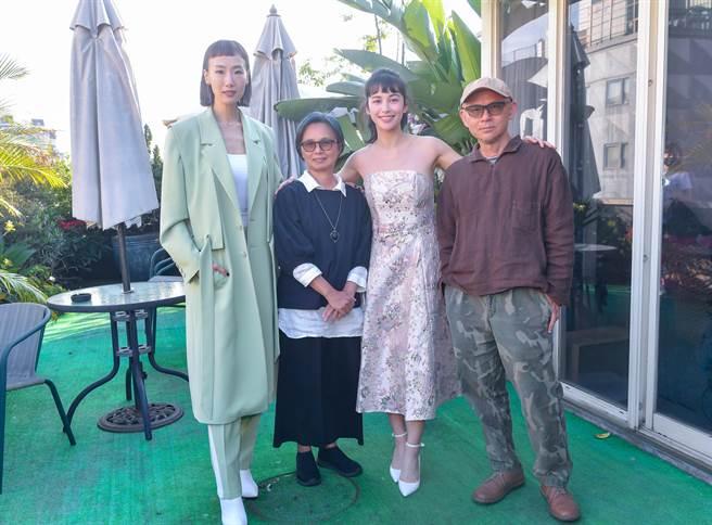 陸明君、導演魏瑛娟、夏朧和導演陳宏一宣傳新作《揭大歡喜》。(盧禕棋攝)