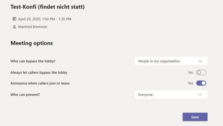 Hosts can make some settings for their team conference via a website.