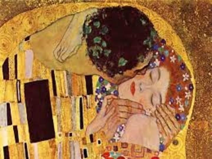 The kiss.  By Gustav Klimt.  1907-1908.