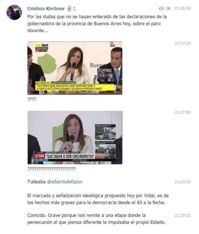 Cristina Kirchner salió a respaldar a los gremios docentes que están de paro y criticó a María Eugenia Vidal