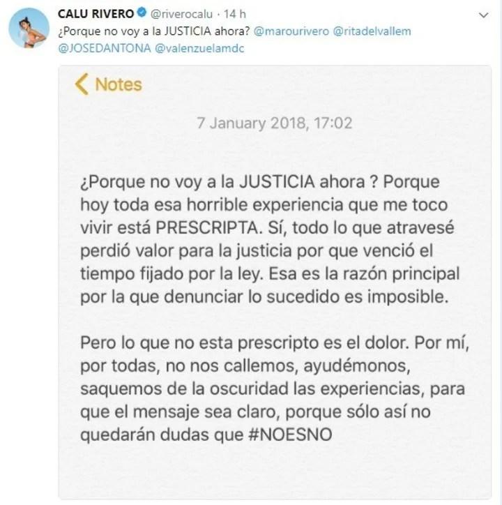 Carta abierta de Calu Rivero: explicó por qué no denuncia a Juan Darthés en la Justicia