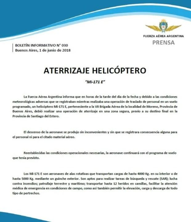 Comunicado de la Fuerza Aérea sobre el helicóptero que bajó en las montañas de Catamarca con funcionarios de Presidencia.