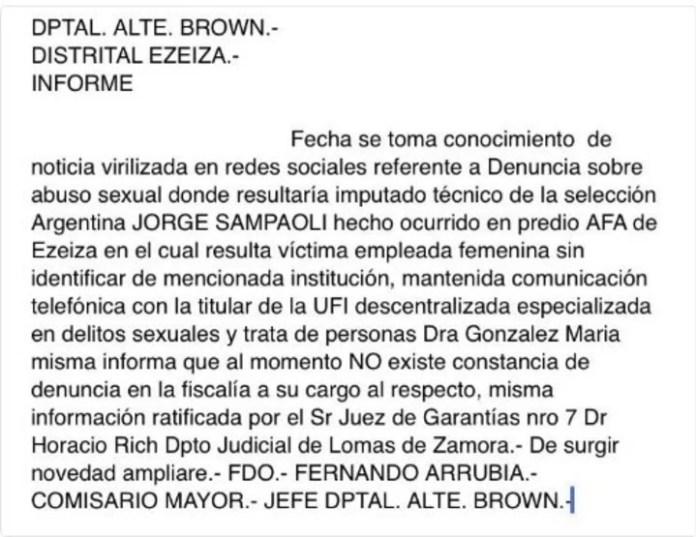 El comunicado del juzgado de Almirante Brown desmintiendo que exista una denuncia contra Sampaoli.