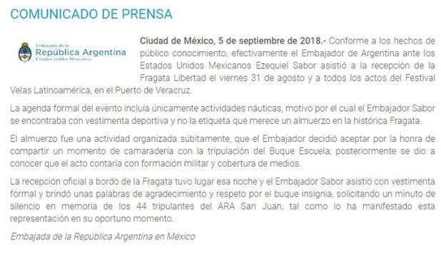 El comunicado de la Embajada de la República Argentina en México