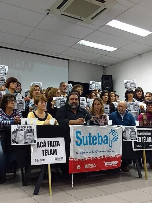 La conferencia de prensa del Suteba para denunciar el secuestro y la tortura de la docente.