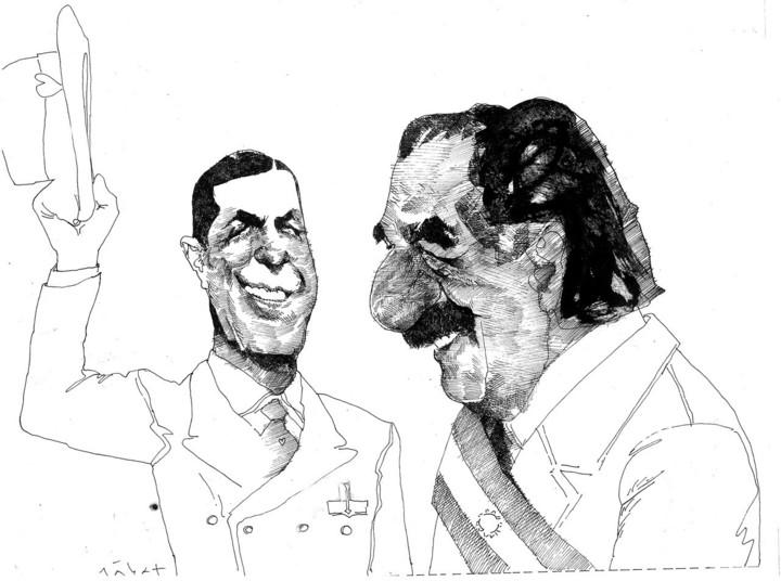 Raúl Alfonsín junto a Carlos Gardel en la pluma de Menchi Sábat, en una ilustración publicada por Clarín en 1982.