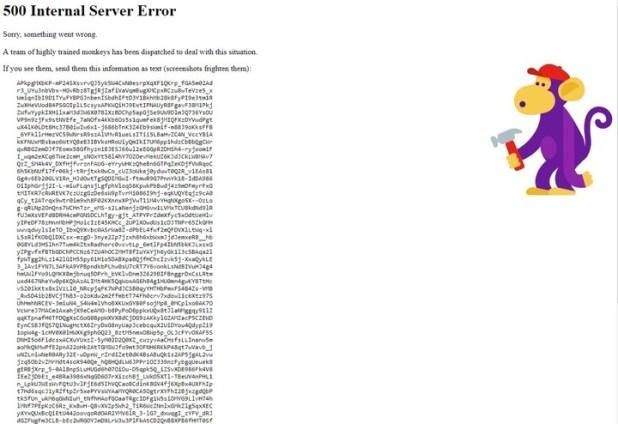 Sin respuesta. El mensaje de error en el sitio de YouTube.