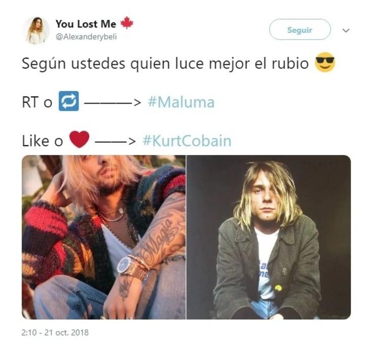Maluma y su parecido a Kurt Cobain. (Twitter)