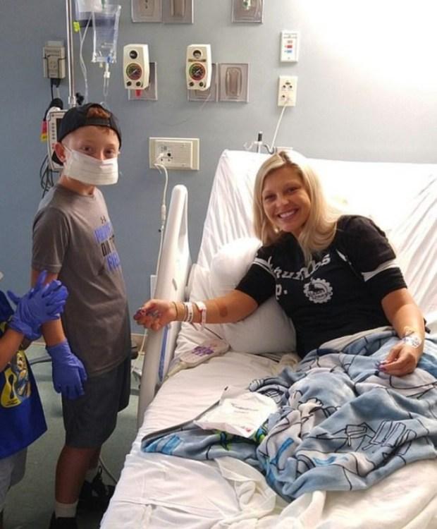 Christina Ferrara en la clínica depsupes del trasplante (Carters News).