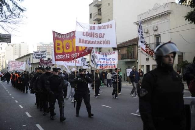 Protesta de trabajadores de la alimentación, en 2014.