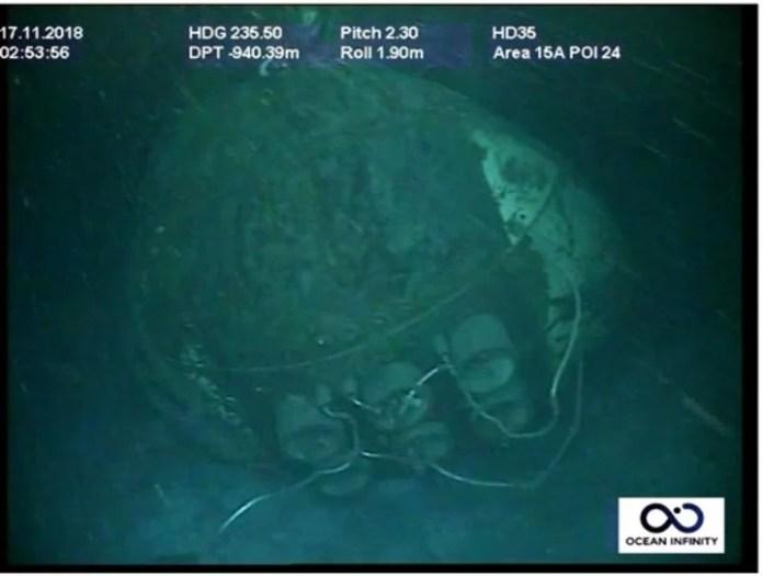 Proa del submarino San Juan luego del naufragio a 800 metros de profundidad.