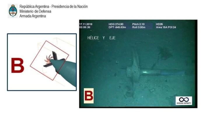La hélice del submarino San Juan en una de las fotos tomadas por robots del buque Ocean Infinity.