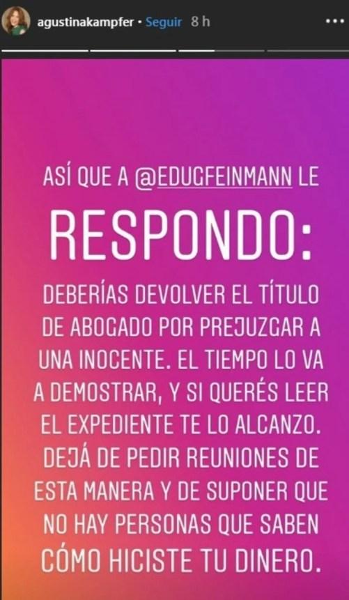 Agustina Kämpfer contra Eduardo Feinmann (Instagram).