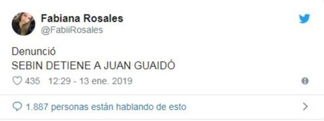 El tuit de la esposa de Guaidó sobre la detención de su marido.