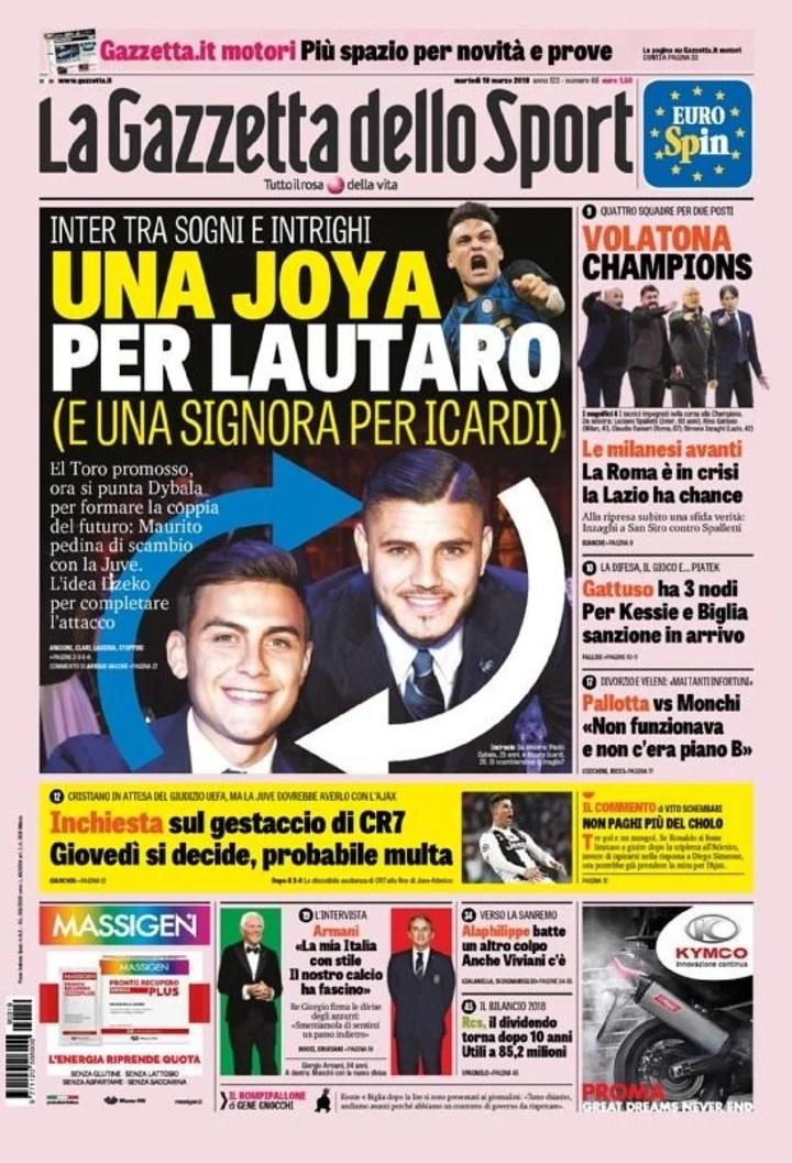 """""""Una joya para Lautaro (y una dama para Icardi)"""". La tapa de La Gazzetta dello Sport."""