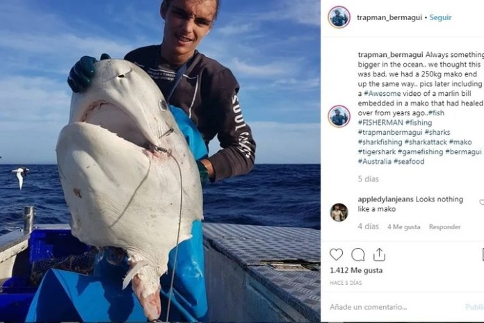 Imagen sensible: otro posteo que realizó el pescador en Instagram.