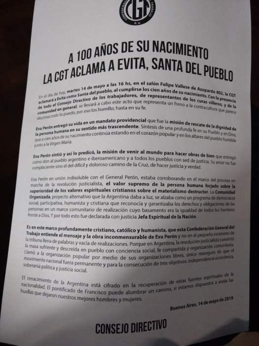 Documento de la CGT pidiendo la beatificación de Eva Perón.