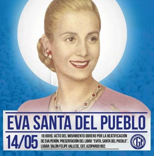 La CGT pide la beaticación de Eva Perón.
