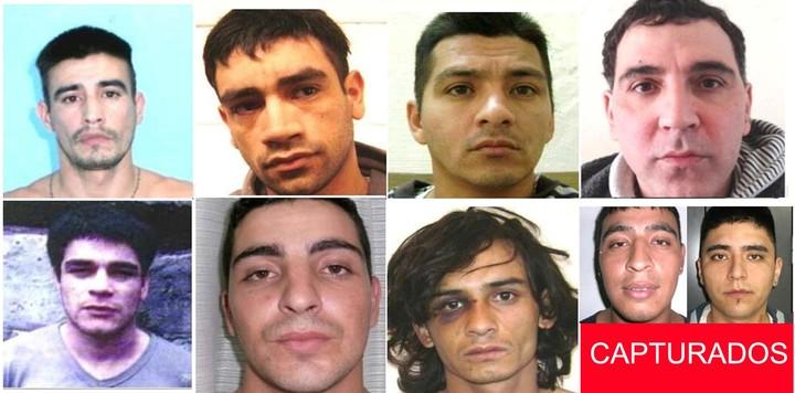 Los nueve presos que se fugaron en Santa Fe cuando volvían al penal de Coronda.