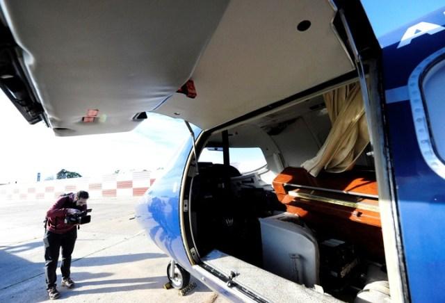 El Lear Jet en el aeropuerto de San Fernando. Foto: Luciano Thieberger.