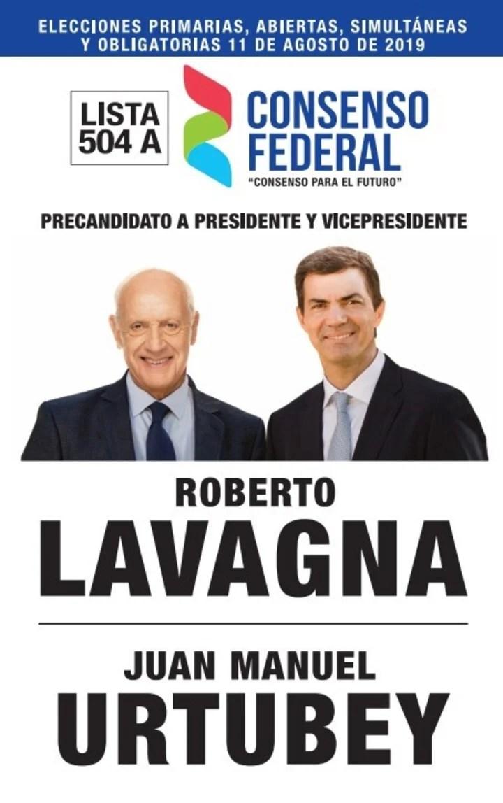 La boleta de Consenso Federal, con los candidatos Roberto Lavagna y Juan Manuel Urtubey.