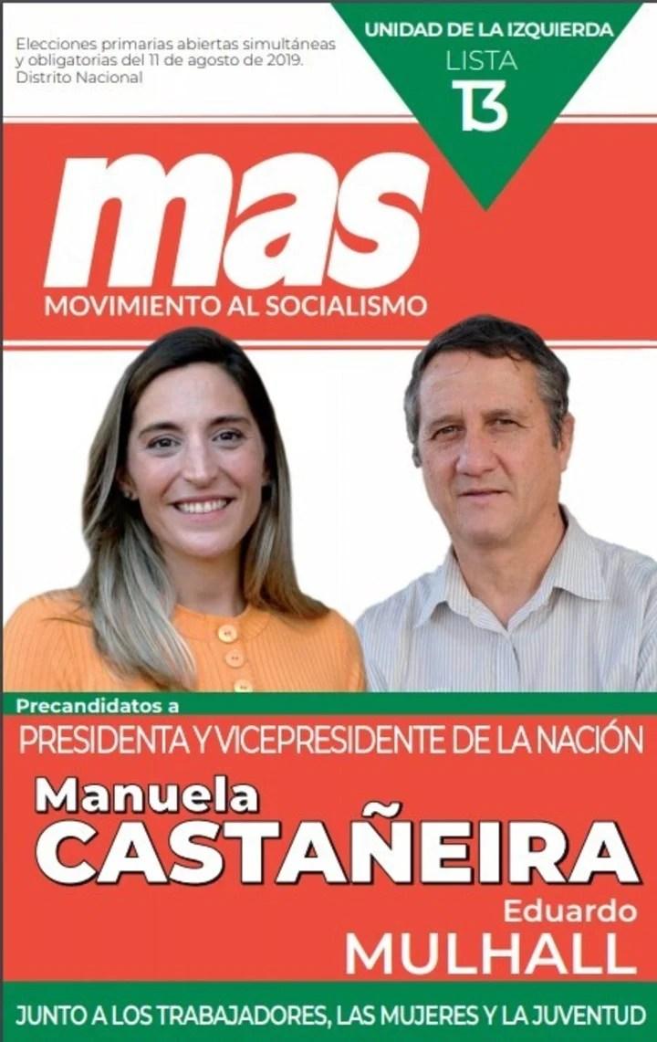 La boleta del Mas con los candidatos Manuela Castañeira y Eduardo Mulhall.