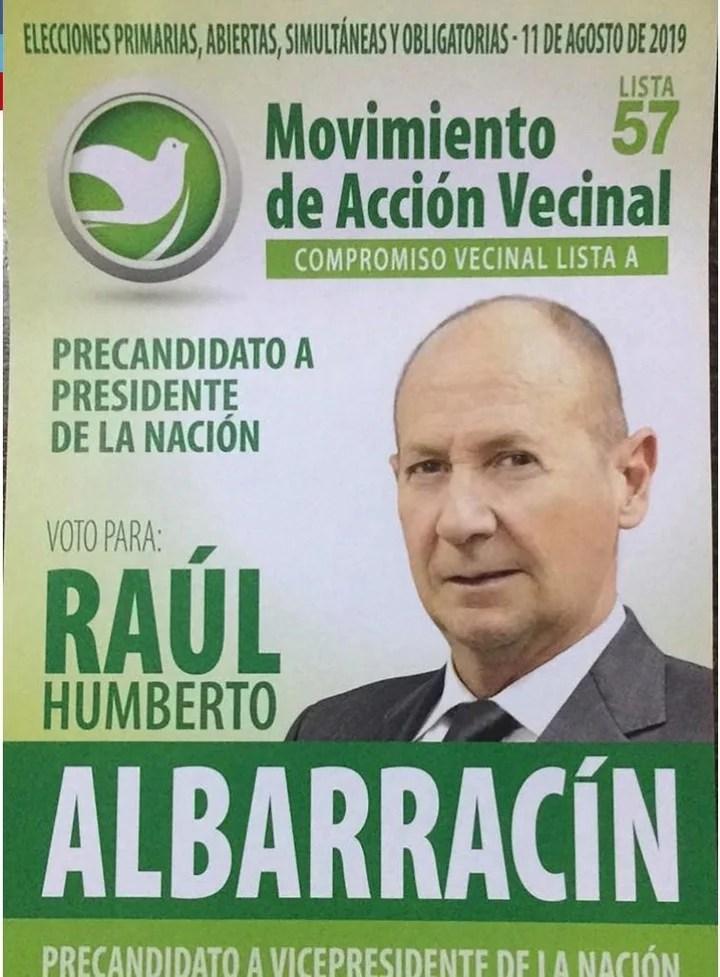 La boleta que lleva a Raúl Humberto Albarracín como precandidato a presidente.