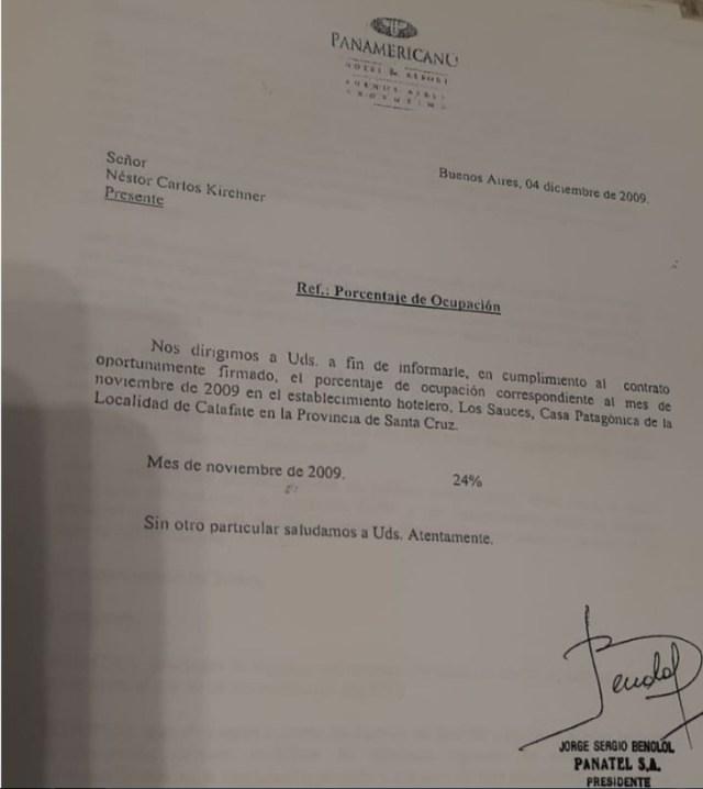 Los documentos del Hotel Los Sauces de la familia Kirchner que Manzanres presentó en la Justicia.