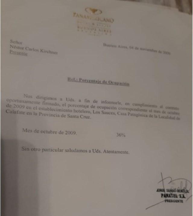 Los documentos del Hotel Los Sauces de la familia Kirchner que Manzanares presentó en la Justicia.