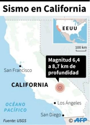 Mapa del estado de California localizando el sismo de magnitud 6,4 del jueves 4 de julio - AFP / AFP