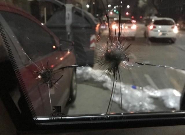 El impacto visto desde adentro del vehículo