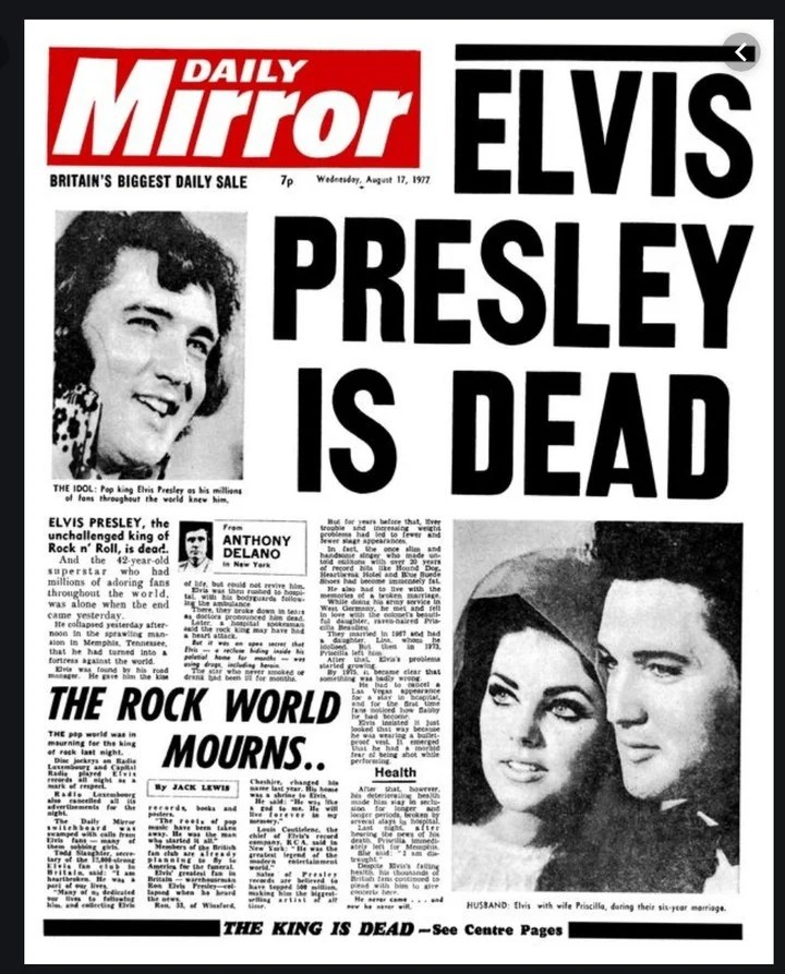 This is how the Daily Mirror broke the news of Elvis Presley's death.