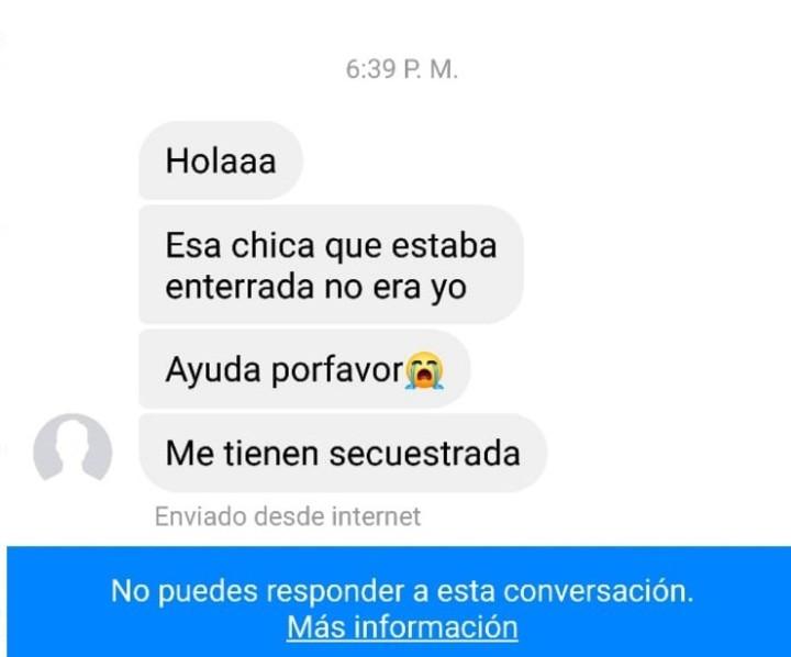 La captura de los mensajes que enviaron a familiares de la adolescente secuestrada y asesinada en 2017.