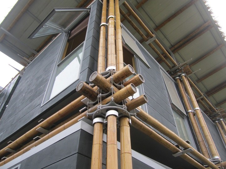 Uniones livianas. El proyecto de Cárdenas se basa en nudos de aluminio que permiten el fácil reemplazo de las cañas cuando hayan cumplido su vida útil.
