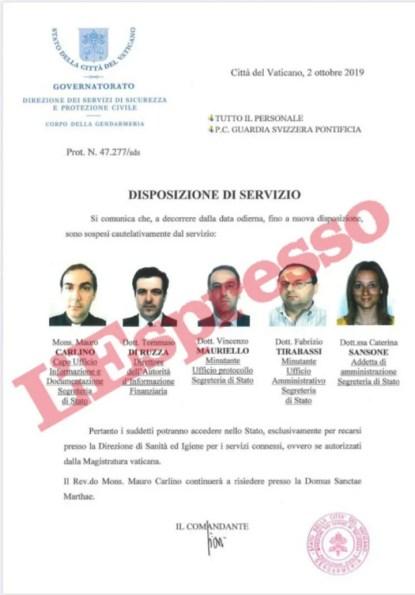 Los cinco funcionarios suspendidos./ Foto: L'Espresso