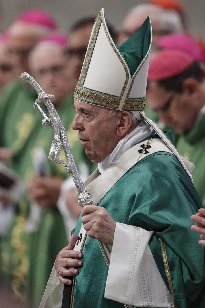 El papa Francisco, al inaugurar el sínodo del Amazonas. (EFE)