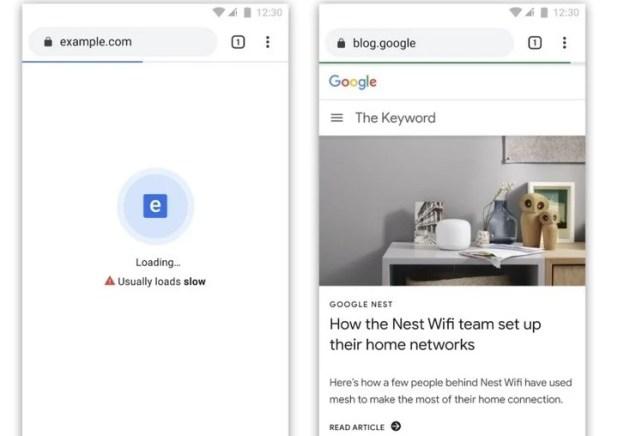 Ejemplos de distintivos para carga lenta y rápida de las webs en Chrome.