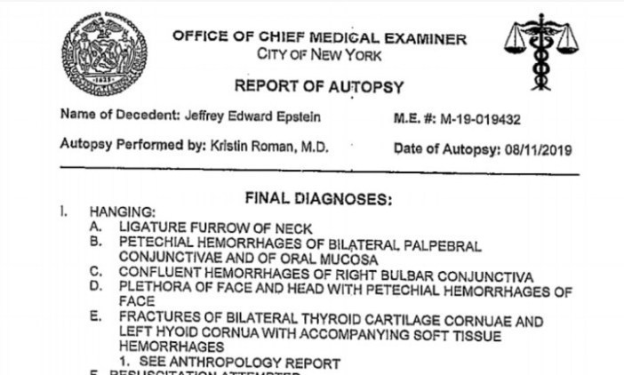 La autopsia de Epstein.