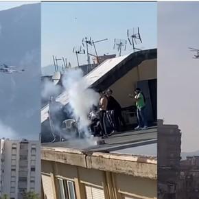 Coronavirus: hacían un asado en la azotea para 90 personas y cuando llegó el helicóptero policial le dispararon fuegos artificiales