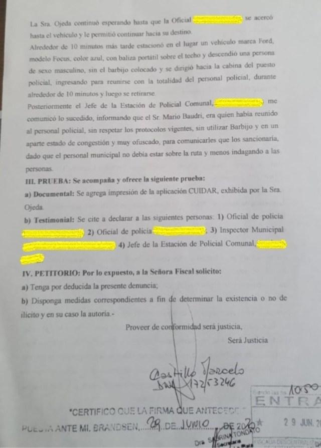 La denuncia contra Mario Baudry, el jefe de Gabinete de Sergio Berni y su pareja, Verónica Ojeda.