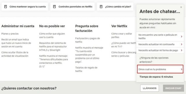 Centro de ayuda de Netflix.