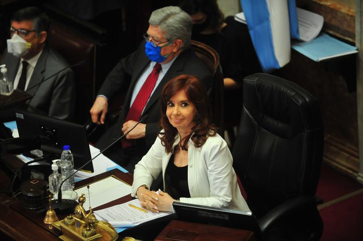 Cristina Kirchner, en una sesión del Senado, el mes pasado. Foto Lucía Merle.