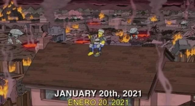 Un capítulo de la temporada 32 adelanta el apocalipsis. Homero Simpson sobre la casa, con una armadura casera. Captura de video